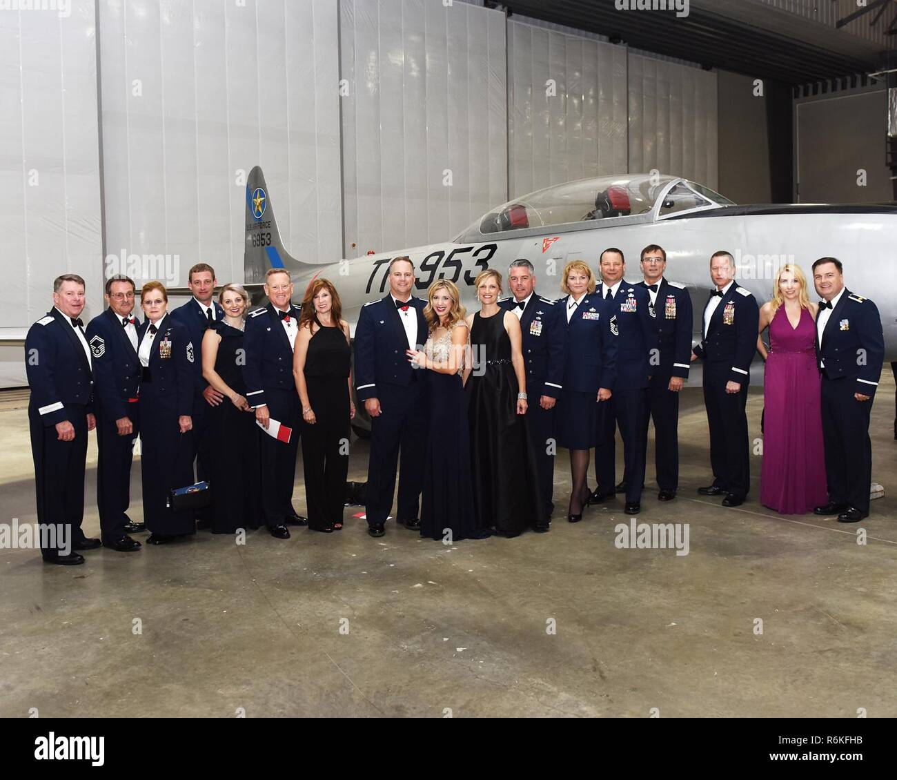 Members of the 147th Attack Wing, 149th Fighter Wing, and Texas Military Department Leadership attend a gala at the new Lone Star Flight Meseum in Houston, Texas on May 20, 2017. The Lone Star Flight Museum inducted the 147th Attack Squadron into the Texas Aviation Hall of Fame; established in 1997 to honor famous aviators who are Texans and famous Texans who are aviators. - Stock Image
