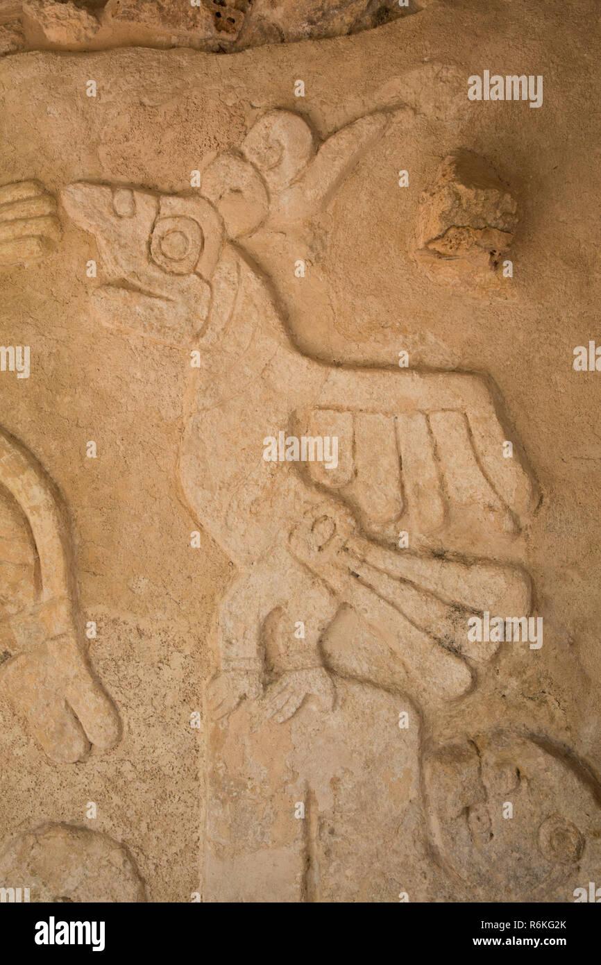 Stucco Reliefs, Castle of Kukulcan, Mayan Ruins, Mayapan Archaeological Site, Yucatan, Mexico - Stock Image
