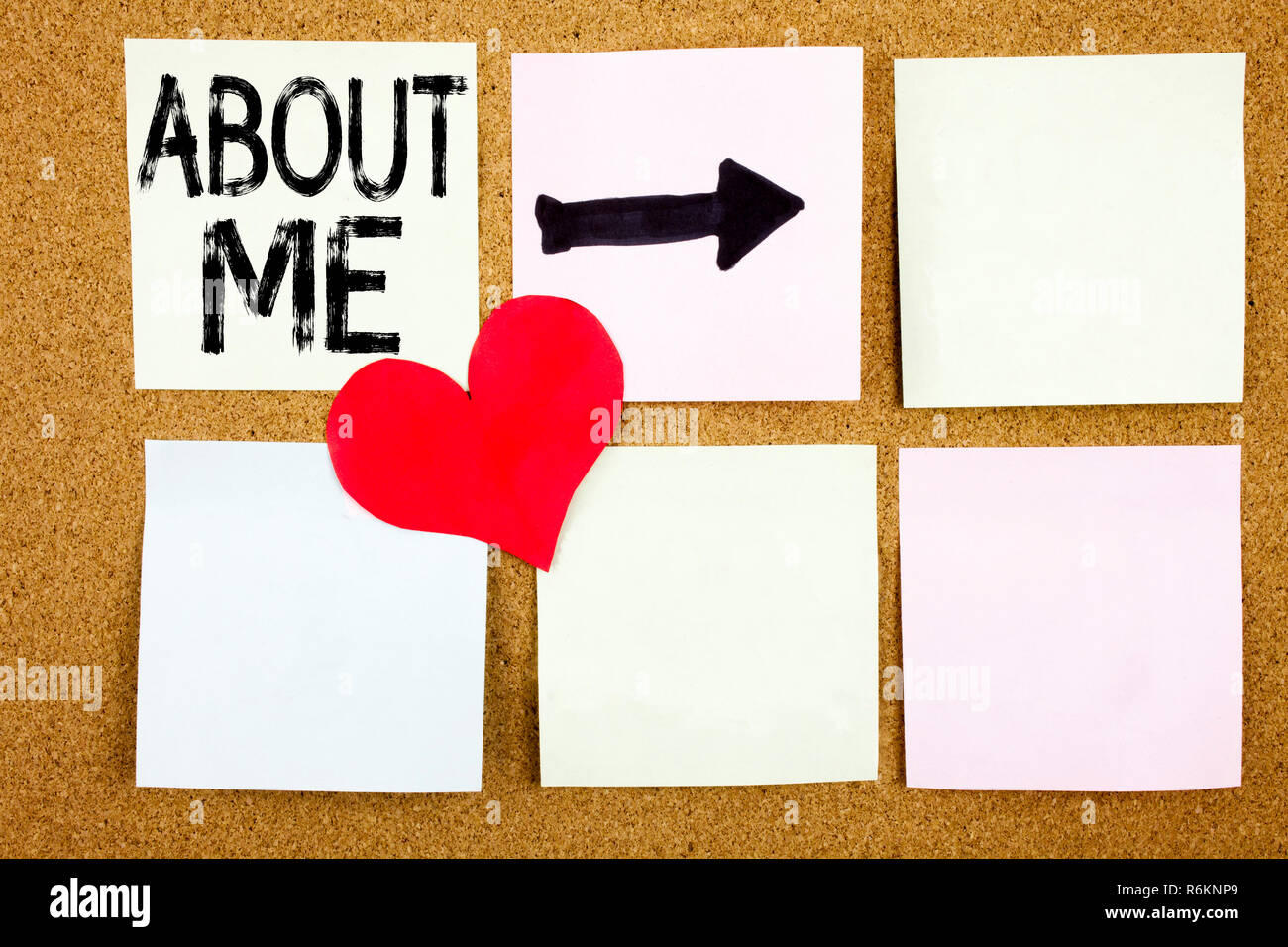 Conceptual hand writing text caption inspiration showing About Me concept for Self Awareness Personal Identity and Love written on sticky note, reminder cork background with copy space - Stock Image