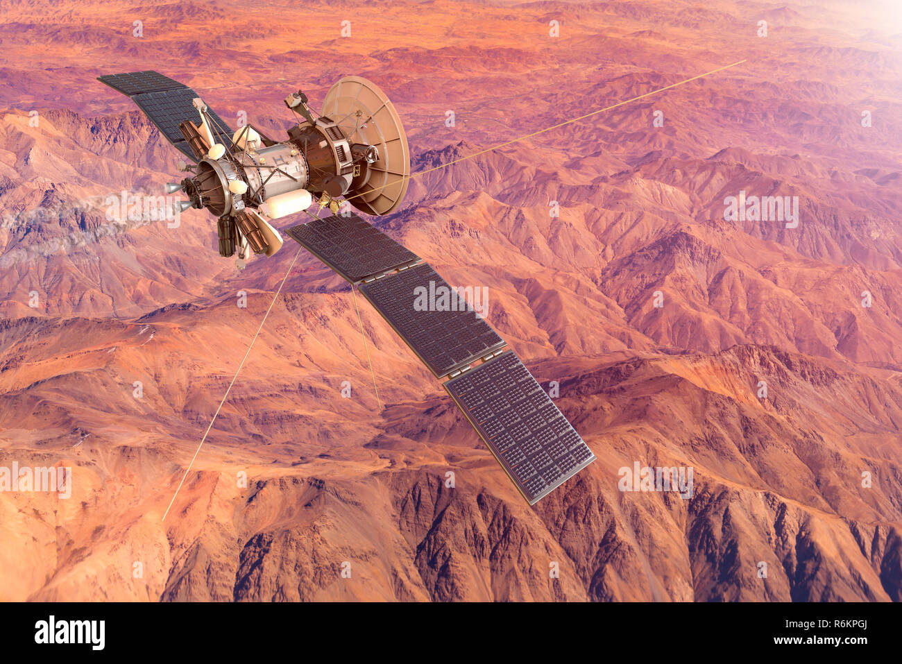 3D rendering of a conceptual image of a spacecraft exploring Mars - Stock Image