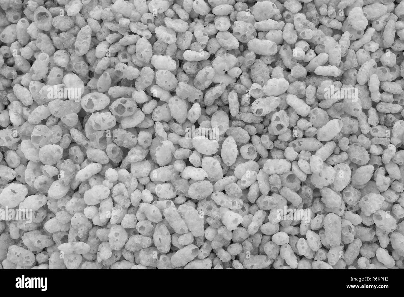 Crisped puffed rice breakfast cereal background - Stock Image