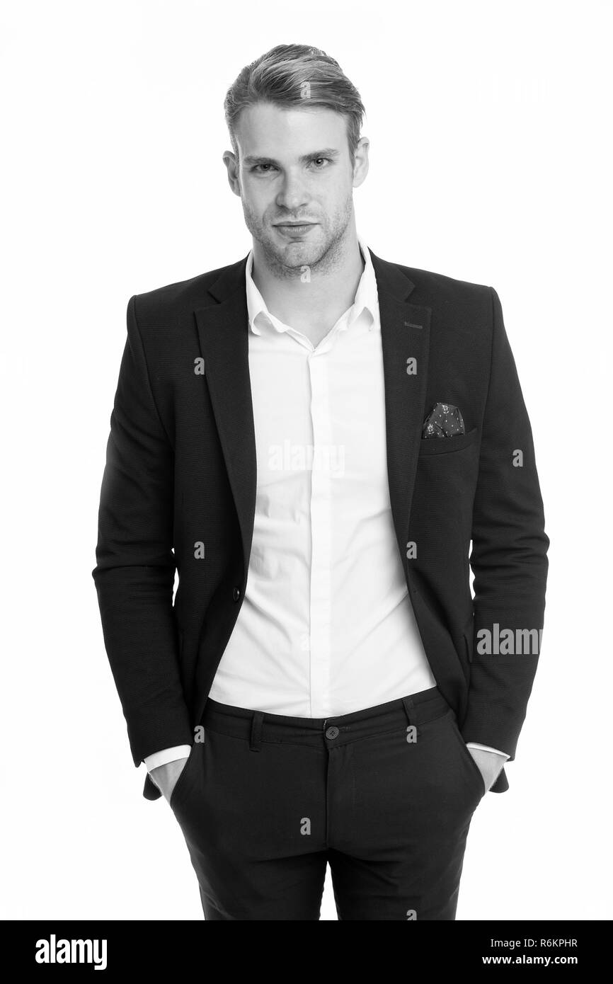 ambitious businessman isolated on white. ambitious businessman in formal suit. all is possible for ambitious businessman. handsome ambitious businessman man. hero in his business - Stock Image