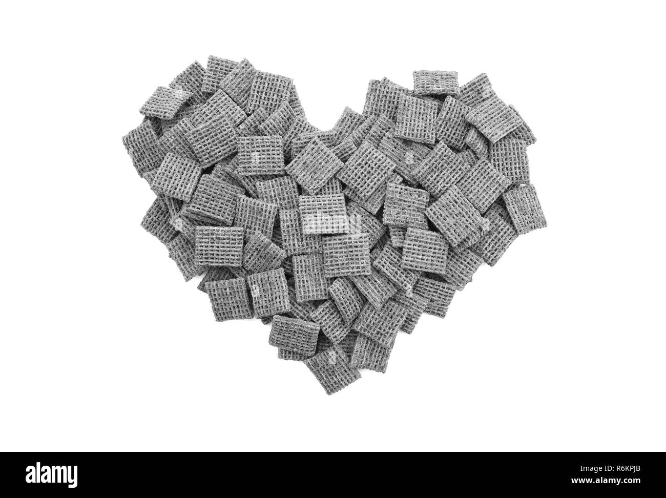 Malted wheat biscuits breakfast cereal heart - Stock Image