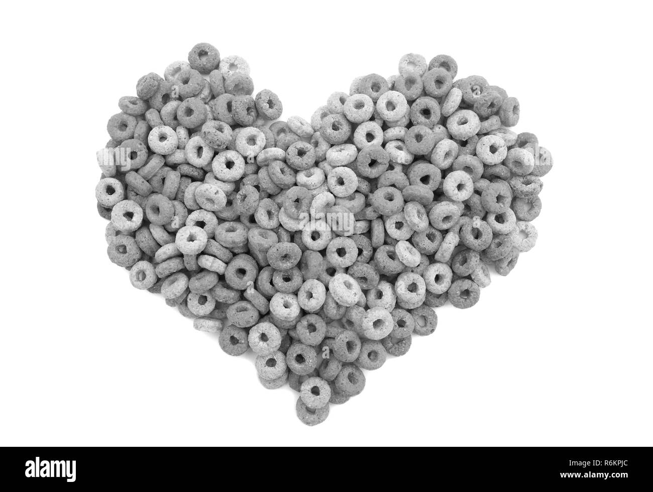 Multigrain hoops breakfast cereal heart - Stock Image