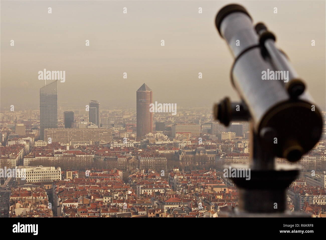 Heavy wave of atmospherical pollution hits Lyon, France Stock Photo