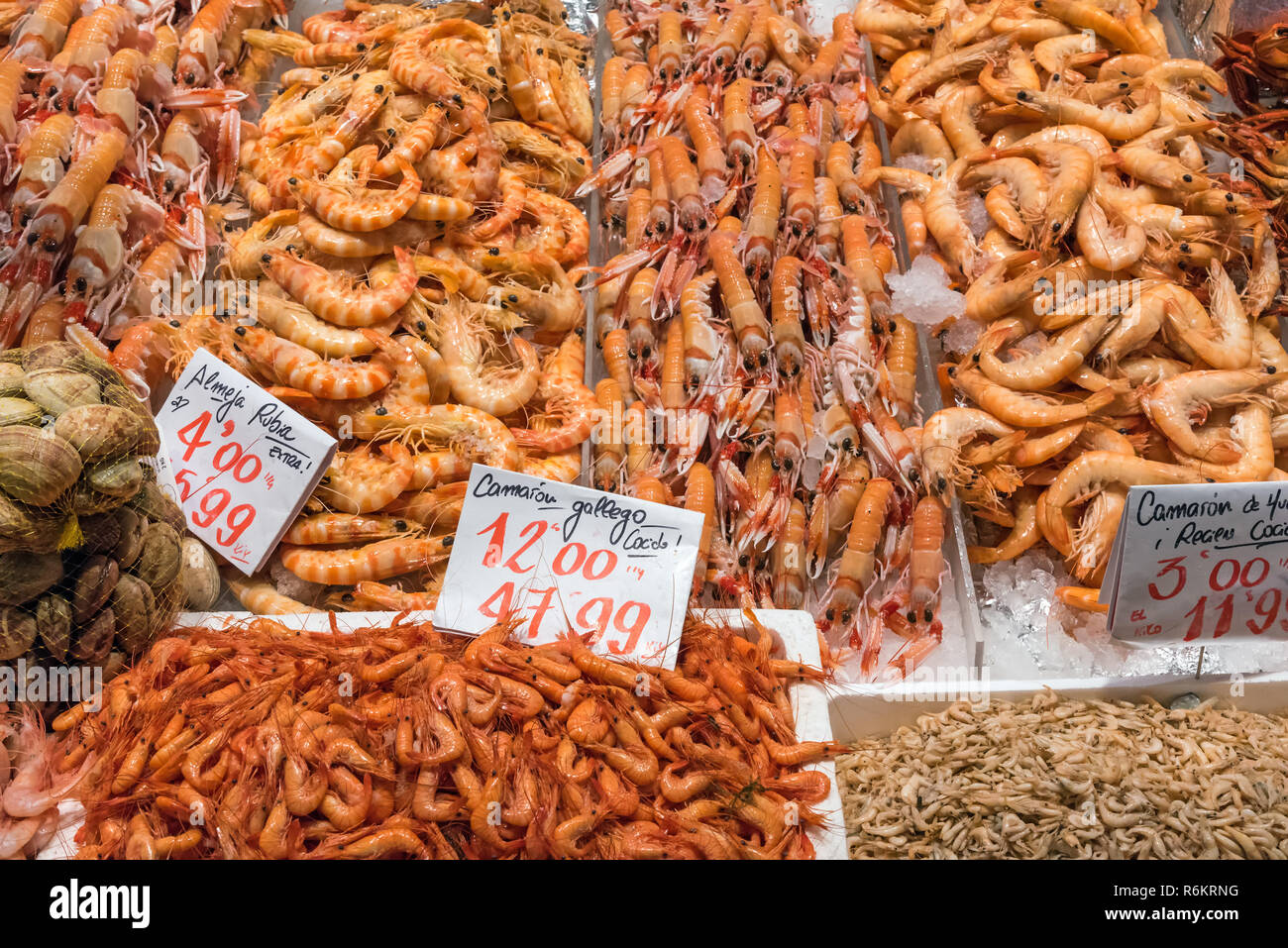 various shrimp species on a market in madrid,spain - Stock Image