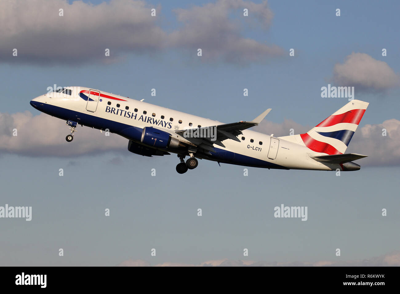 BA CityFlyer Embraer ERJ-170 with registration G-LCYI just airborne at Amsterdam Airport Schiphol. Stock Photo