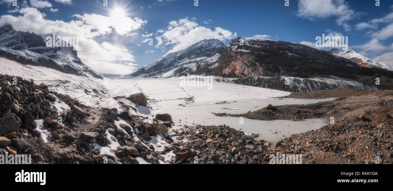 Panoramic view on Athabasca Glacier, Jasper National Park - Canada - Stock Image