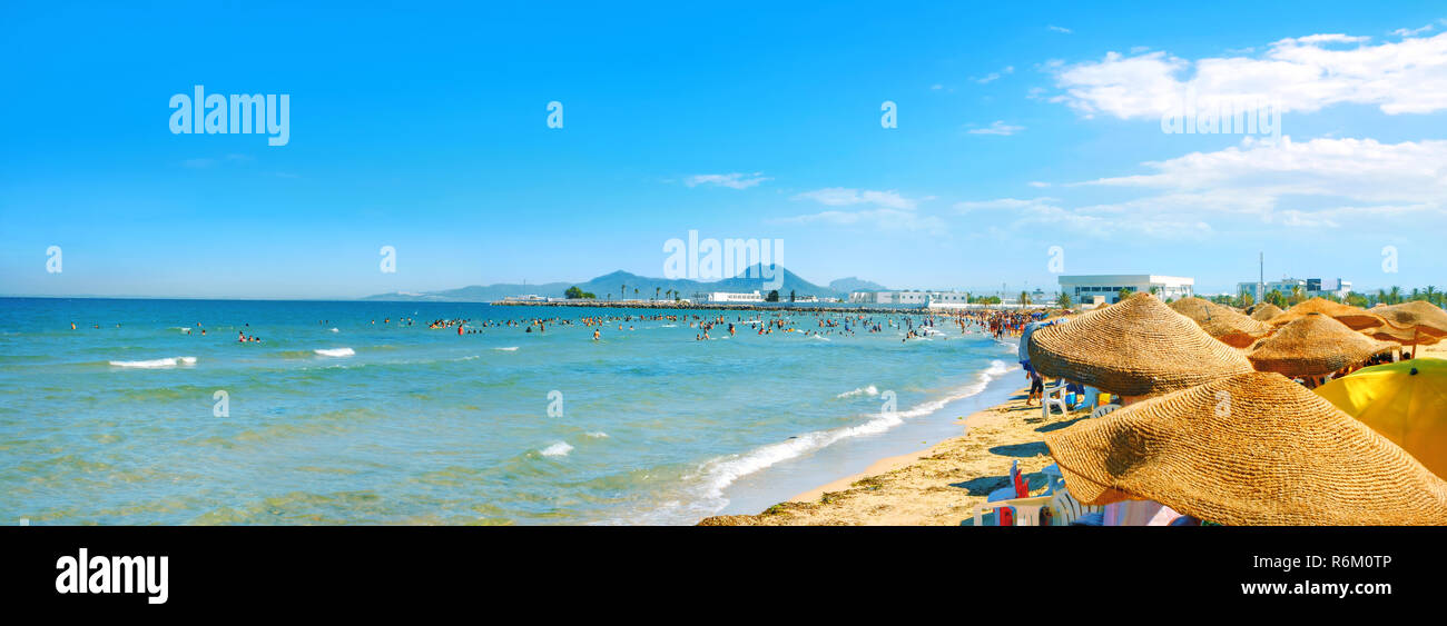 Panoramic view of urban beach in Tunis town. Tunisia, North Africa - Stock Image