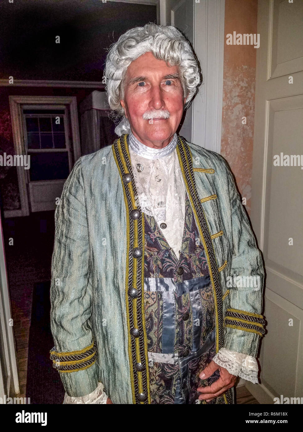 George Washington (aka Karl Watson, historian) playing the part of the lst US president for 'Dinner With George' presentation in Bridgetown, Barbados. - Stock Image