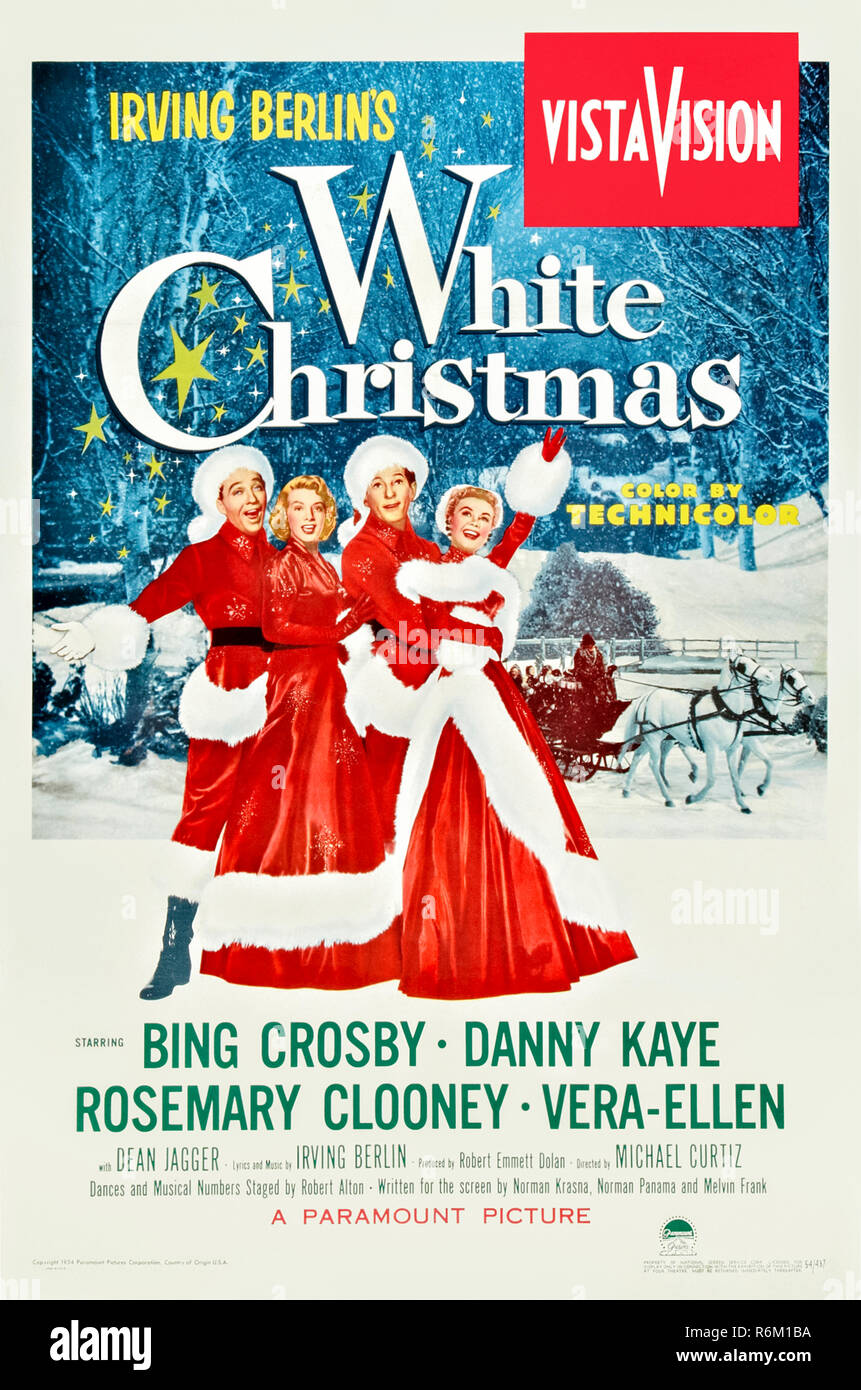 White Christmas (1954) directed by Michael Curtiz and starring Bing Crosby, Danny Kaye, Rosemary Clooney and Vera-Ellen. Romantic comedy about two double acts performing a Christmas featuring the music of Irving Berlin and the first feature film to be shot in VistaVision. - Stock Image
