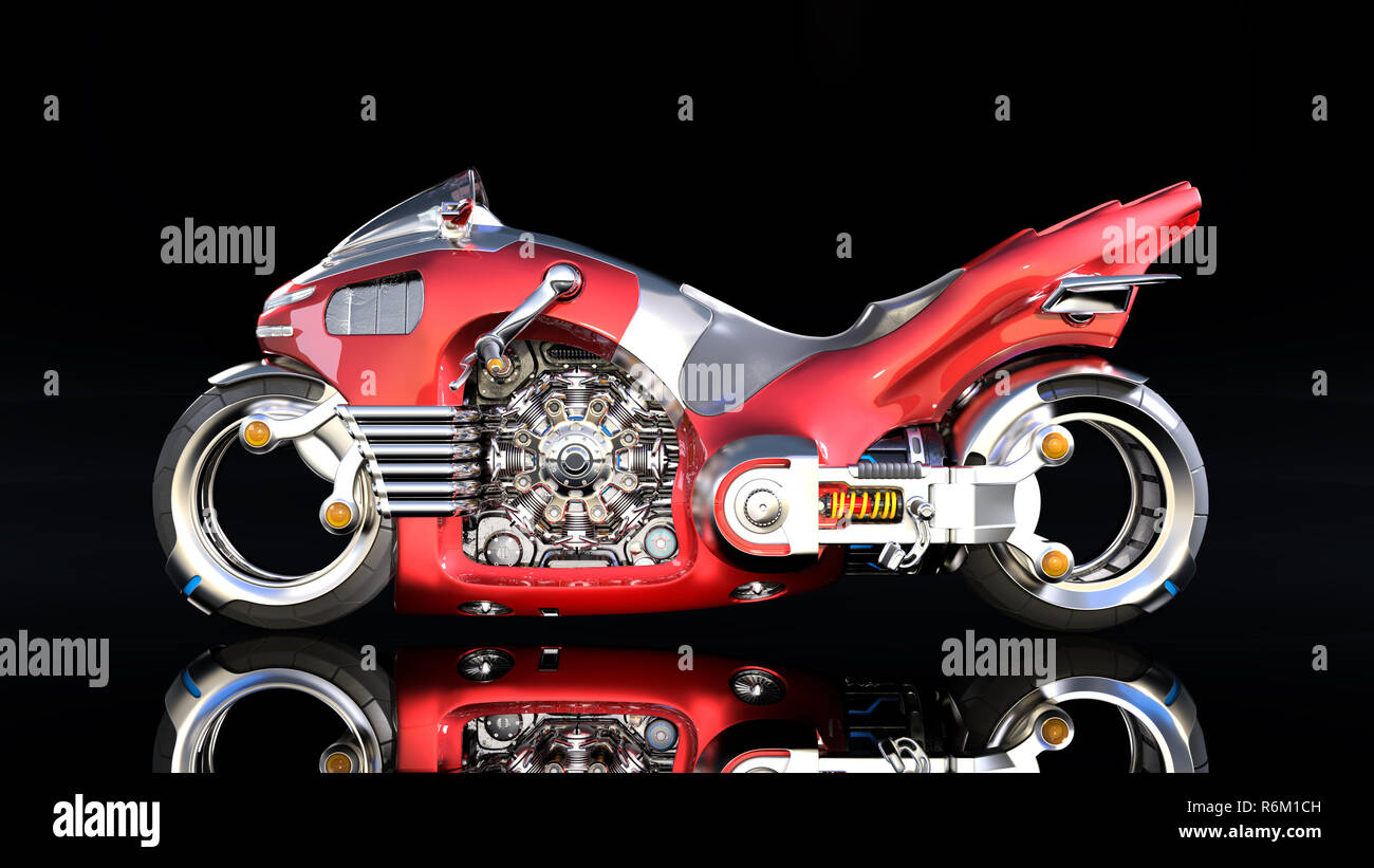 Superbike with chrome engine, red futuristic motorcycle