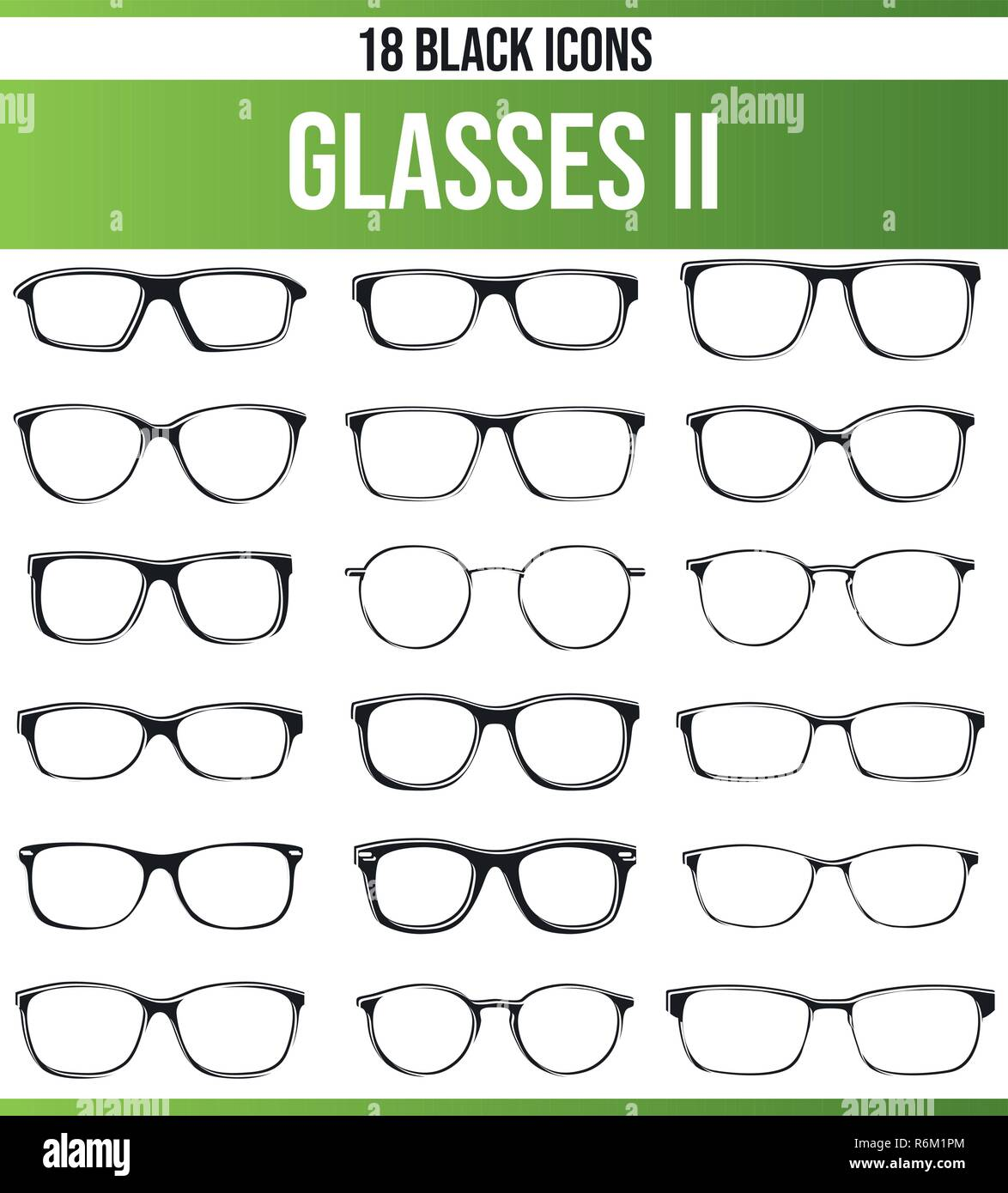 Black pictograms / icons on glasses. This icon set is perfect for creative people and designers who need the topic glasses in their graphic designs. - Stock Vector