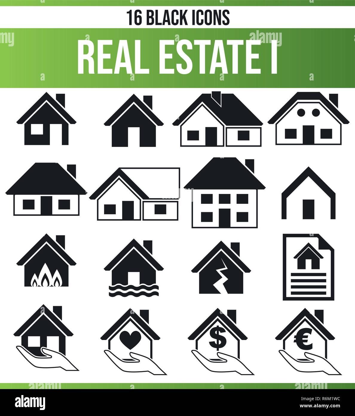 Black pictograms / icons on the subject property. This icon set is perfect for creative people and designers who need the real estate aspect in their  - Stock Vector
