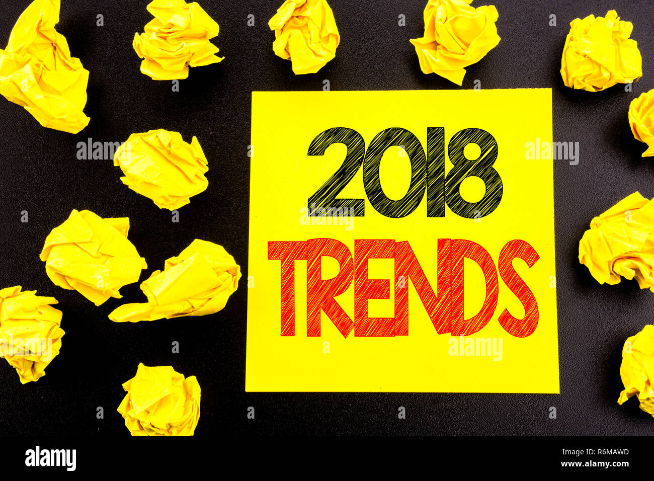 Conceptual hand writing text showing 2018 Trends  Business