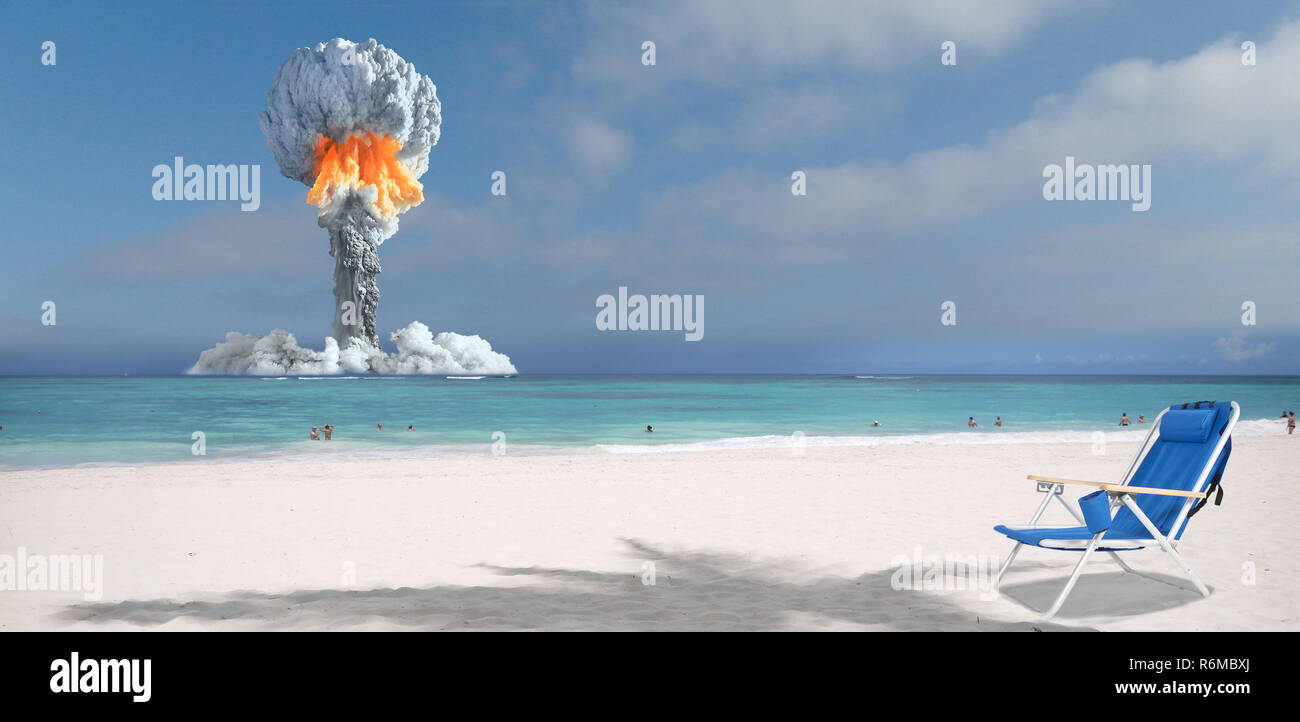 Nuclear explosion on the island. - Stock Image