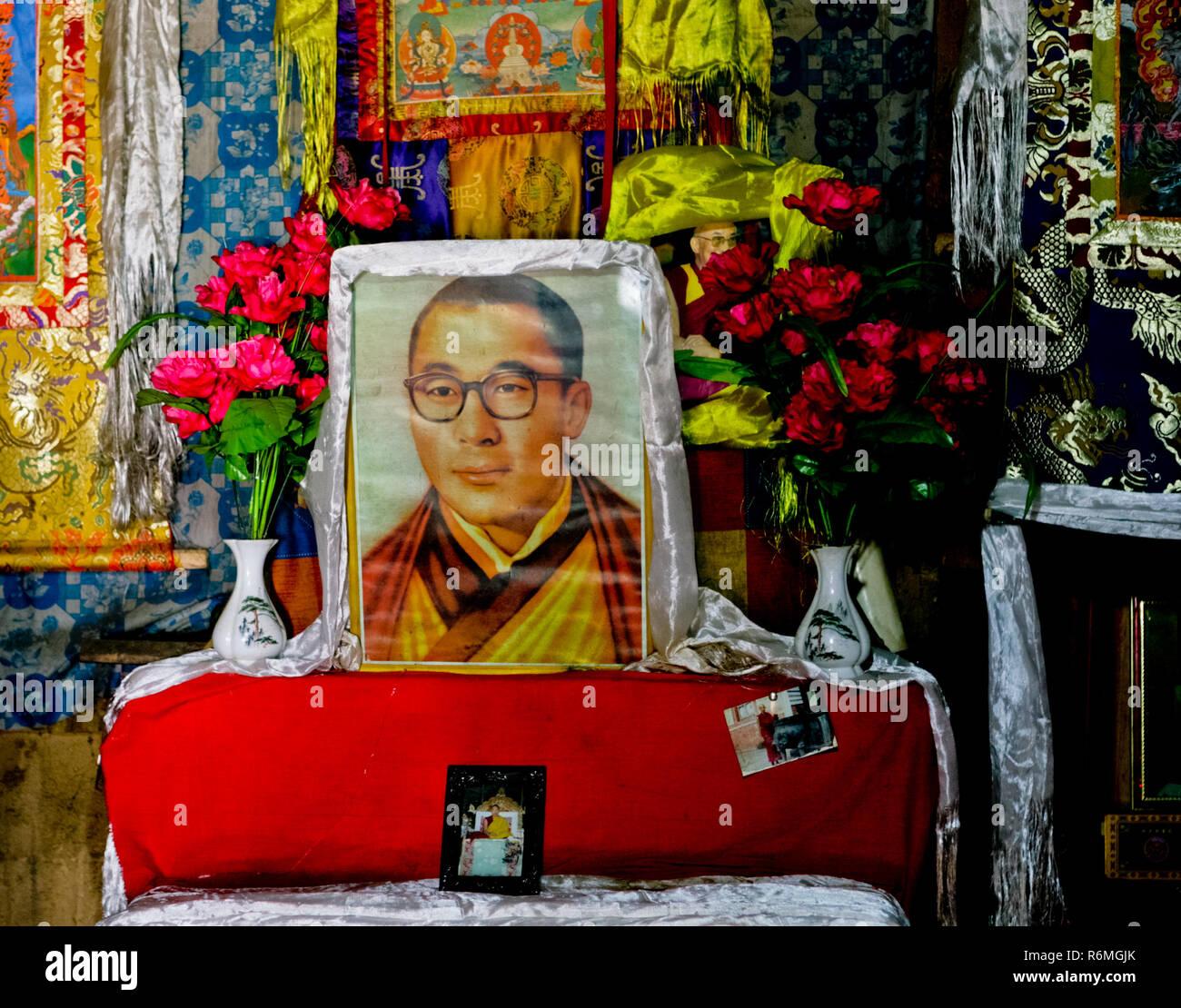 Portrait of young Dalai Lama - Stock Image