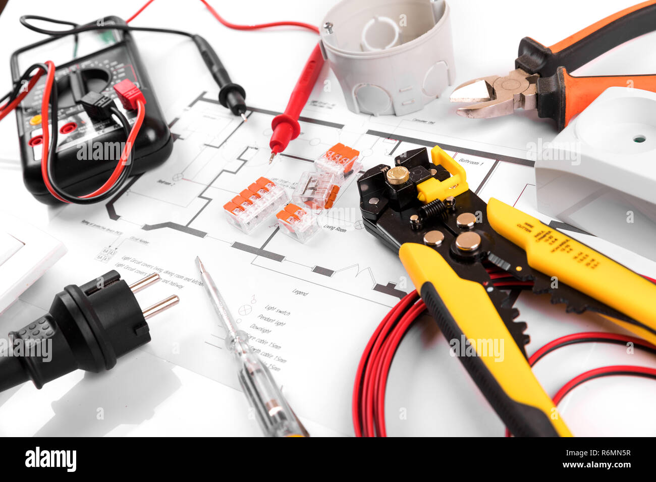 Electrical Tools And Equipment On House Circuit Diagram Stock