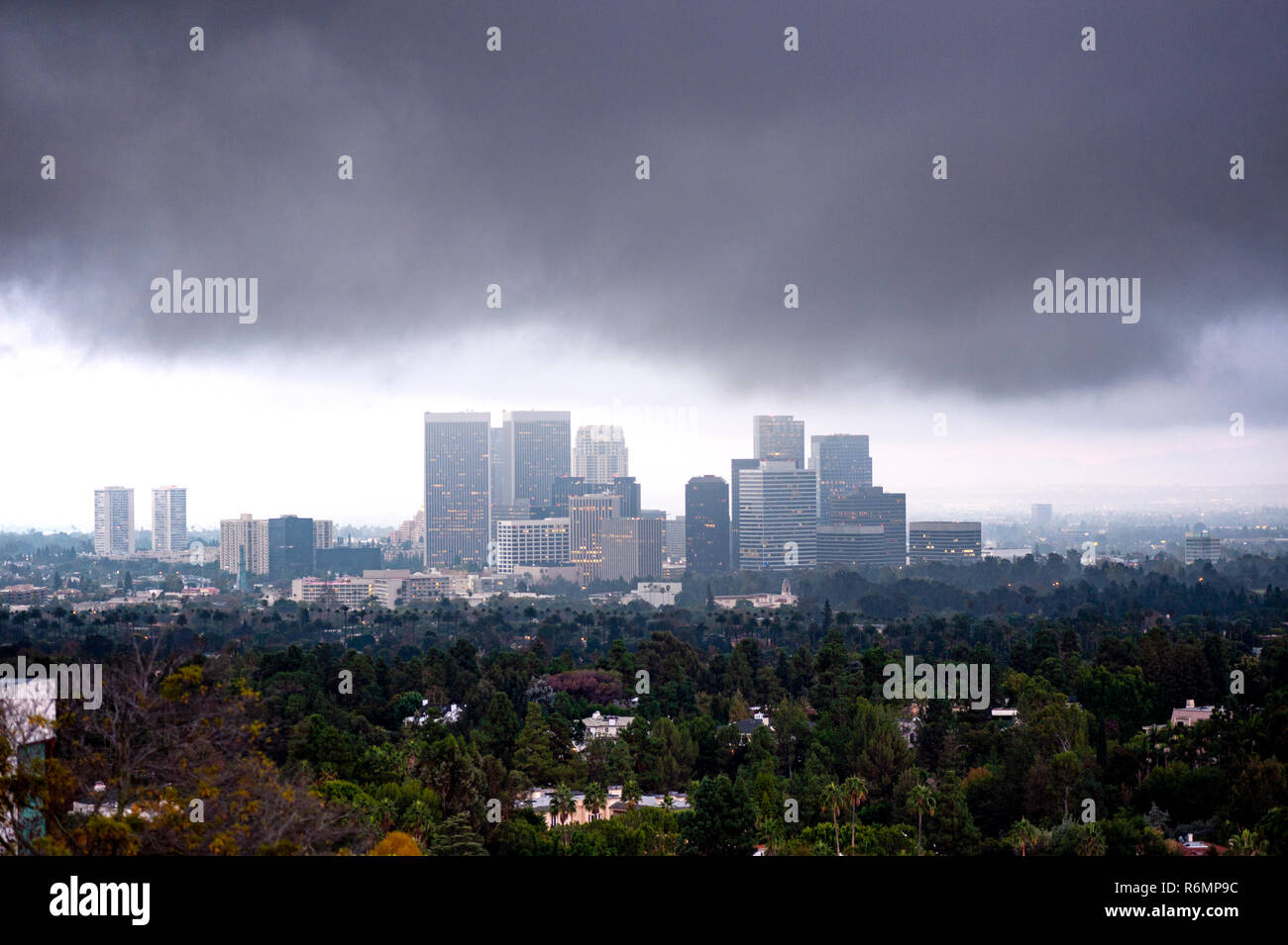 century city on a cloudy day - Stock Image