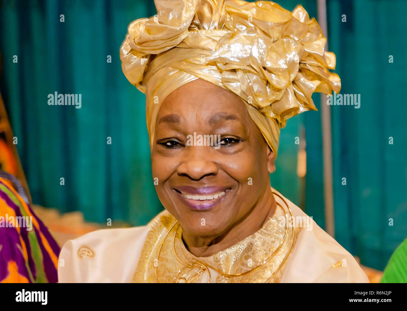 A Nigerian woman wears a traditional headdress at the 34th annual Mobile International Festival, Nov. 17, 2018, in Mobile, Alabama. - Stock Image