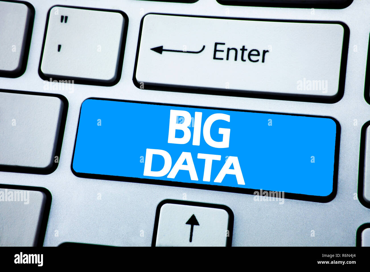 Handwriting Announcement text showing Big Data. Business concept for Digital Business Analysis written on red key on the keybord background. Stock Photo
