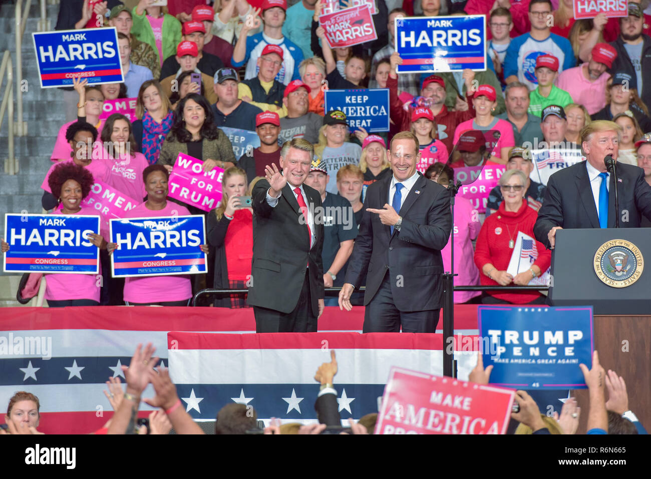 Mark Harris, Center of the GOP Election Fraud Allegations in NC, seen here with President Trump at a Recent MAGA Rally in Charlotte Stock Photo