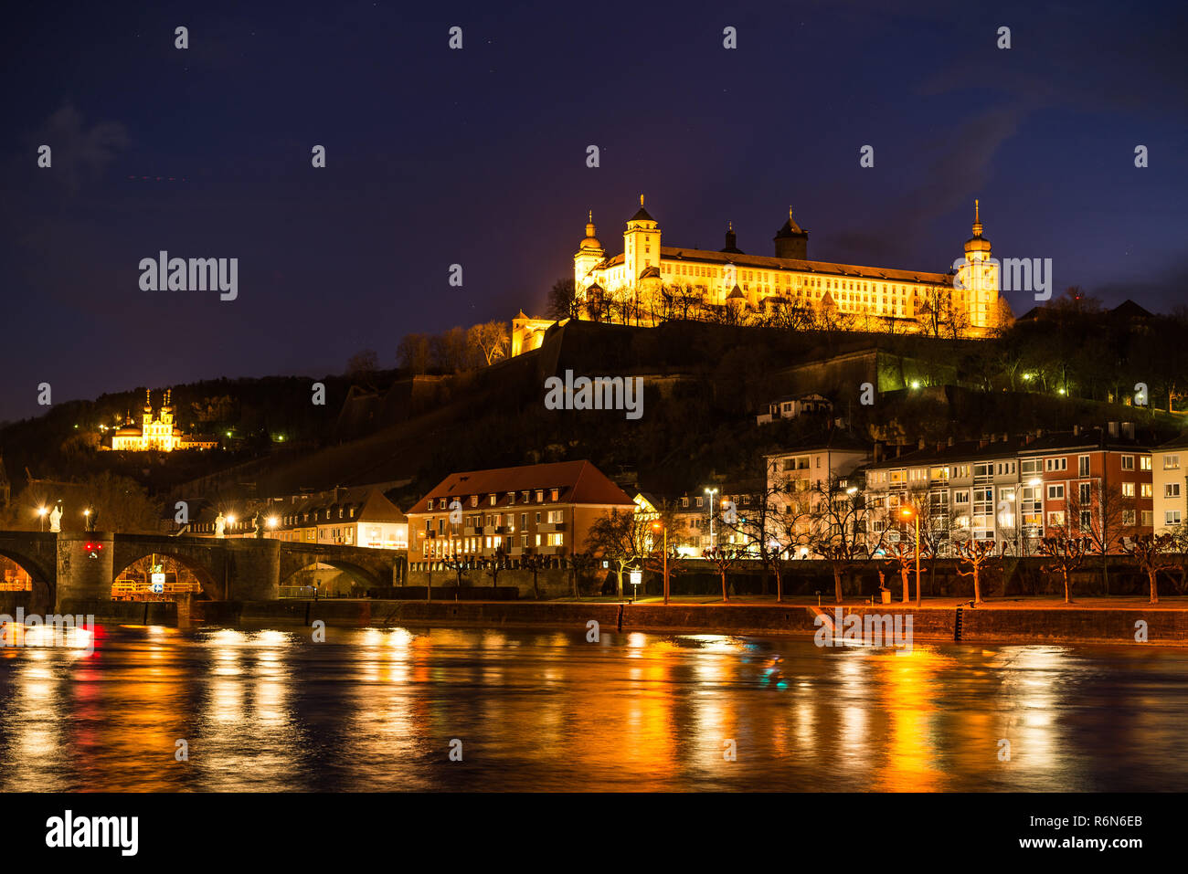 evening mood in würzburg Stock Photo