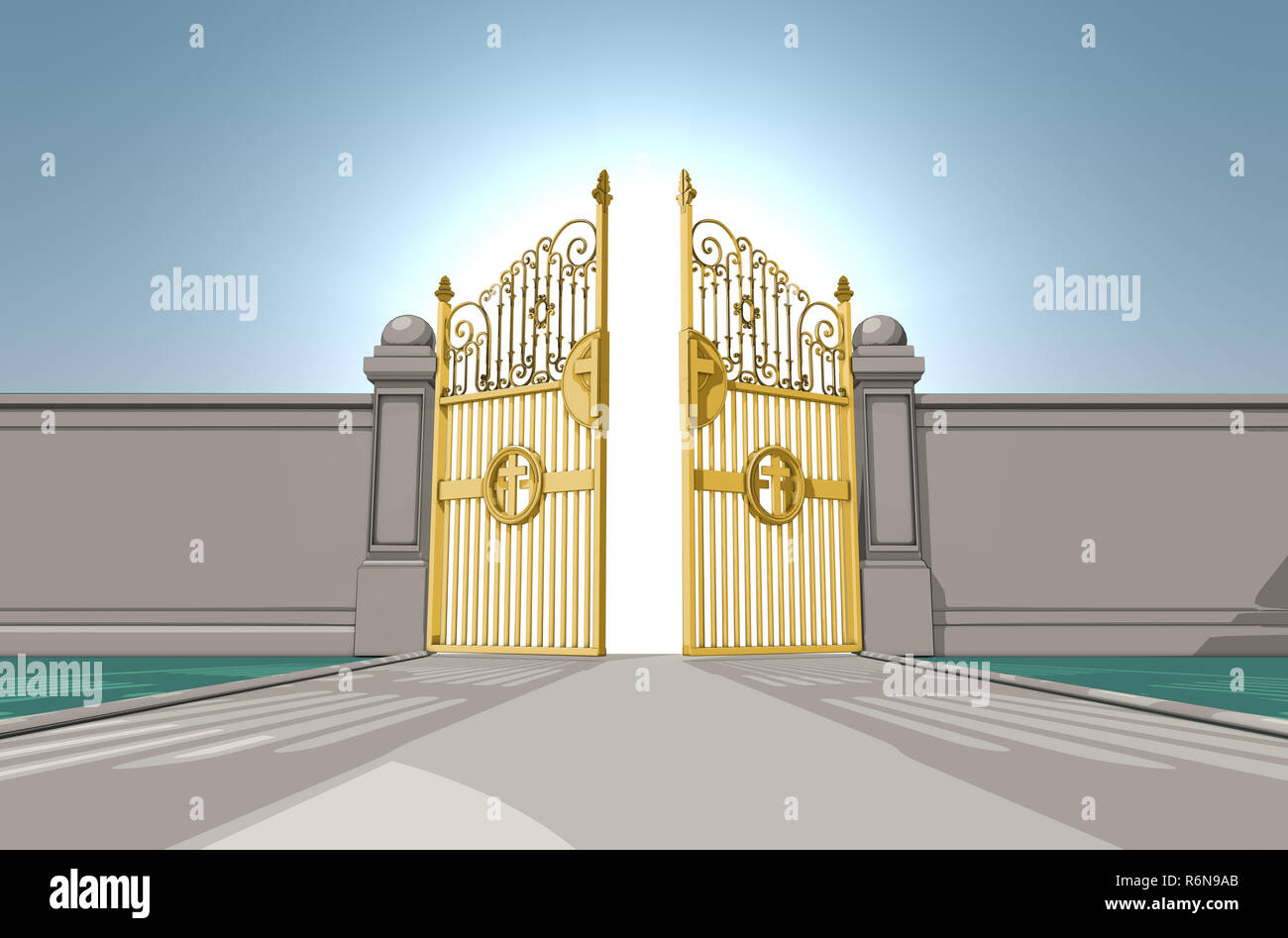 An illustrated depiction of the golden pearly gates of heaven opening on a blue sky background - 3D render Stock Photo