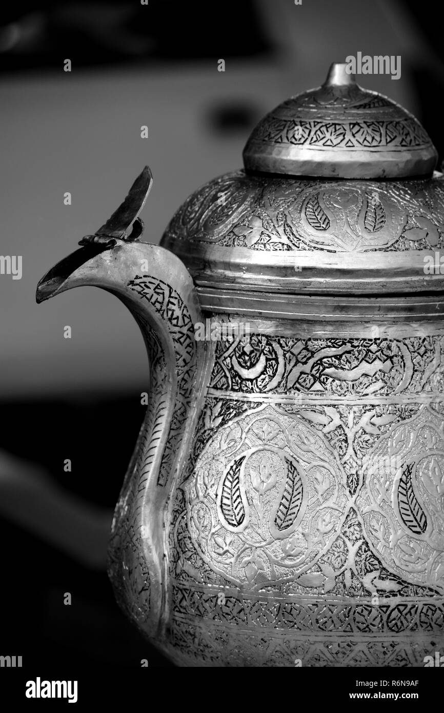 A Kashmiri kettle or Samovar made of silver. - Stock Image