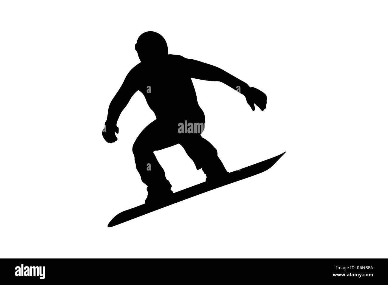 male snowboarder jumping on snowboard black silhouette - Stock Image