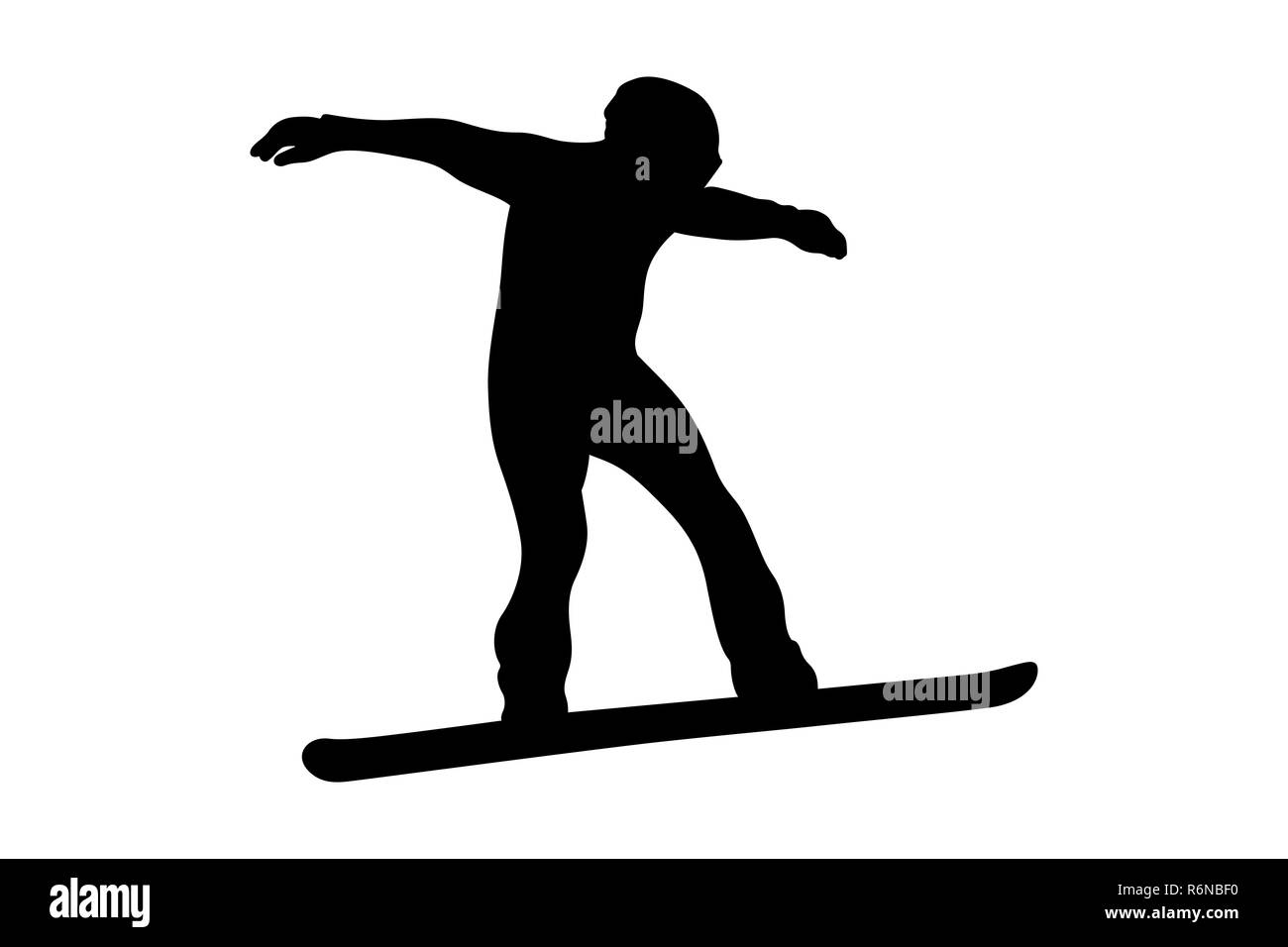 winter sport snowboarding rider in snowboard black silhouette - Stock Image