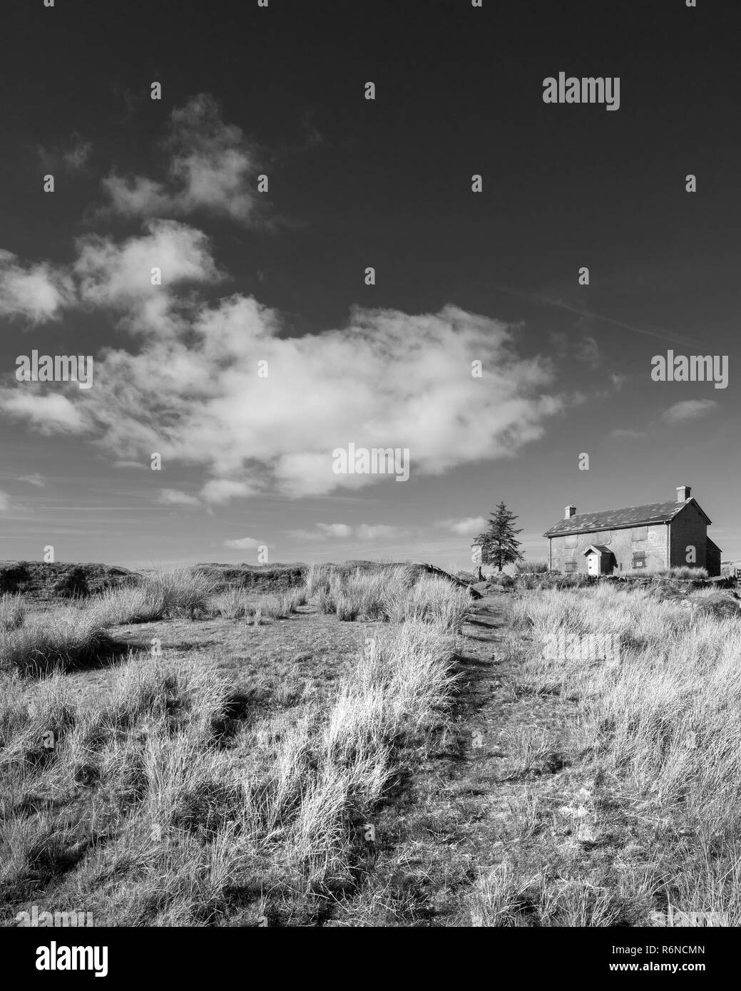 Beautiful black and white landscape image of nuns cross farm in dartmoor