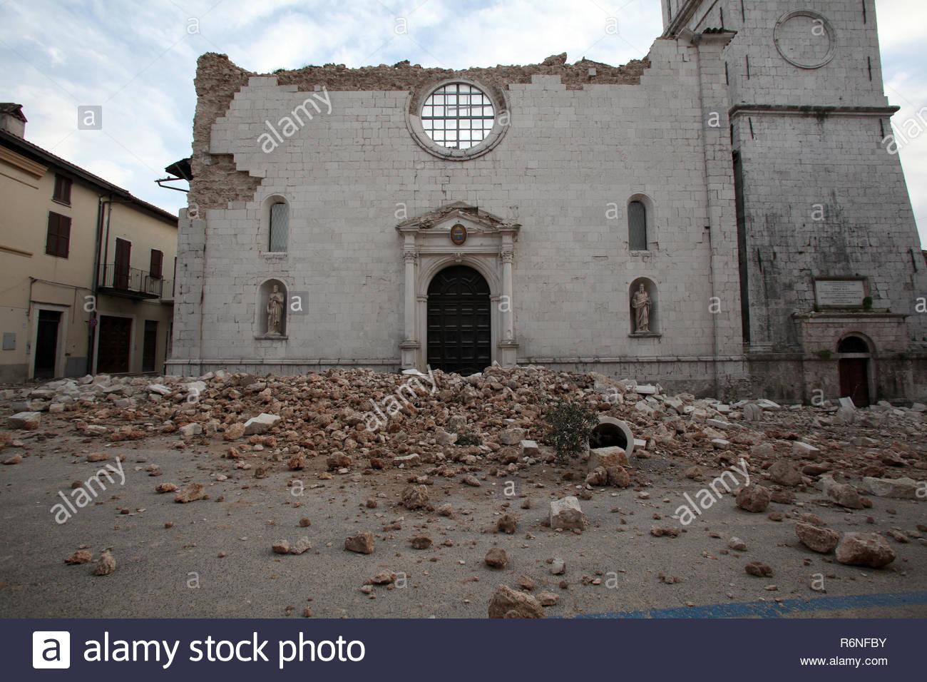 santa maria argentea, norcia historic center destroyed by the earthquake, 8-11-2016 Stock Photo