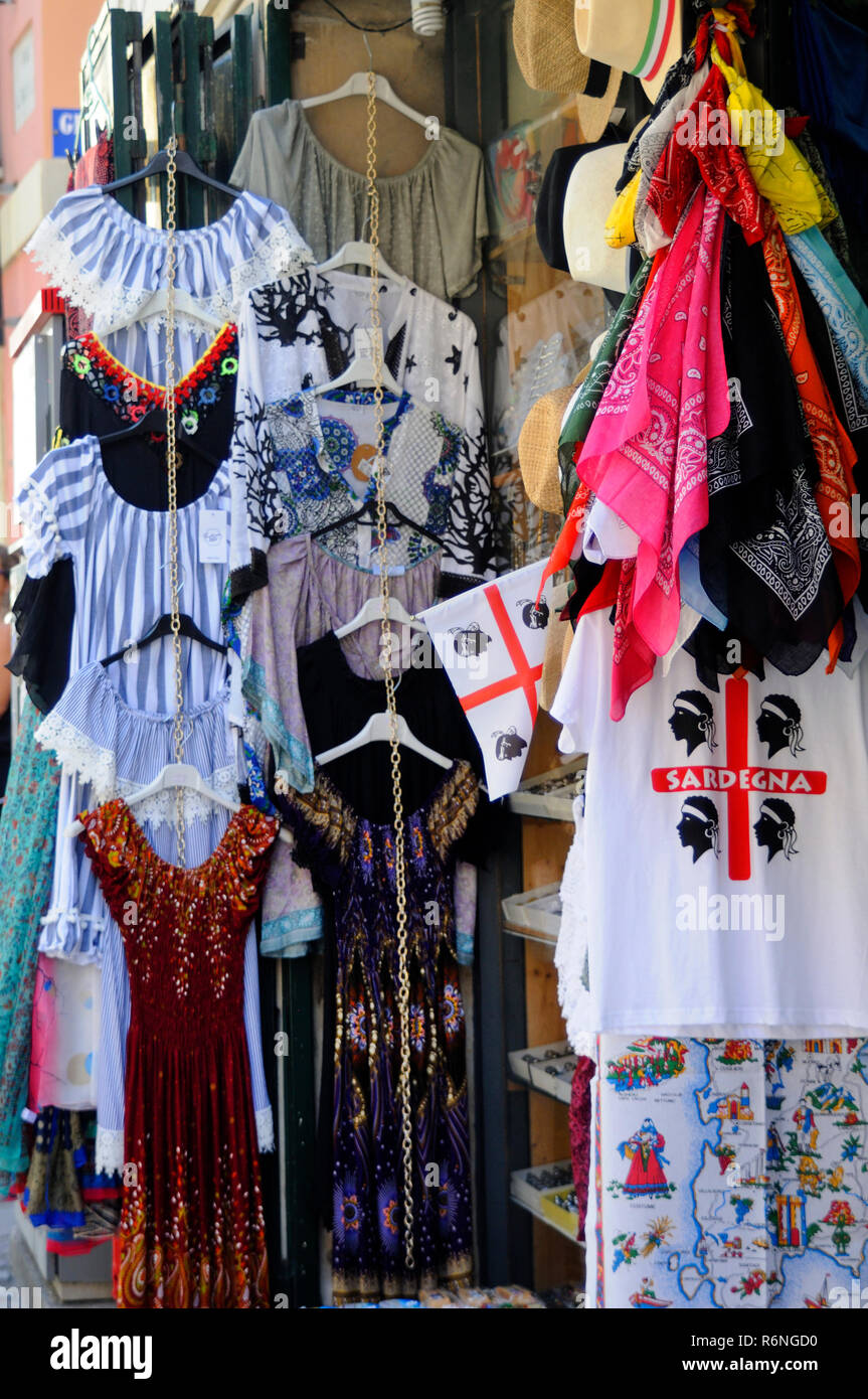 clothes and souvenirs - Stock Image