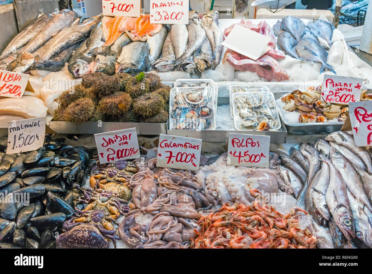 Frische Meeresfrüchte und Fisch zum Verkauf auf einem Markt in Santiago de Chile - Stock Image