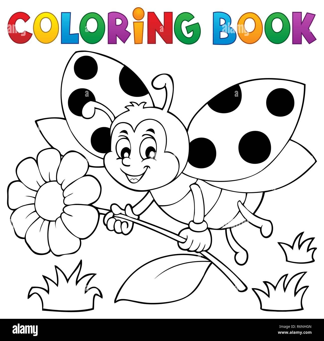 Coloring book ladybug theme 4 Stock Photo: 227897509 - Alamy