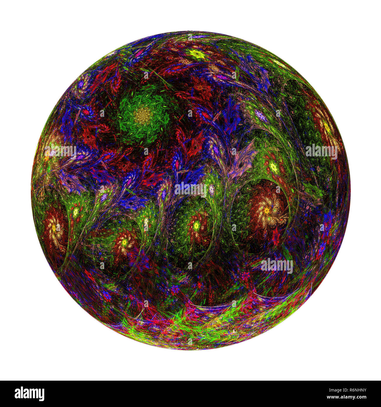 Abstract fractal ball with pattern - digitally generated image - Stock Image