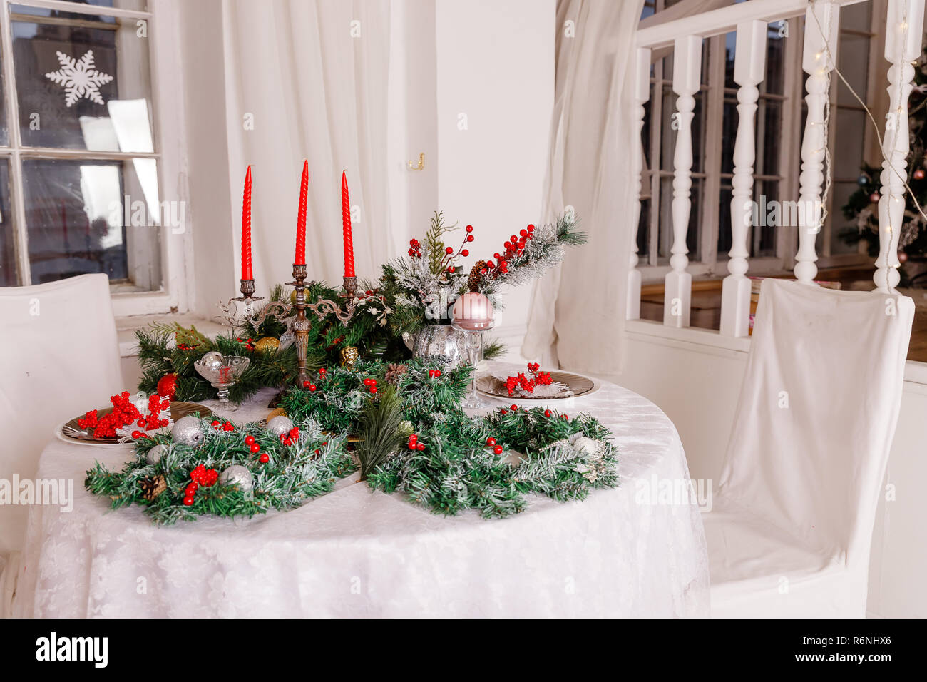 Christmas Dinner Table Decoration Gold Stock Photos Christmas