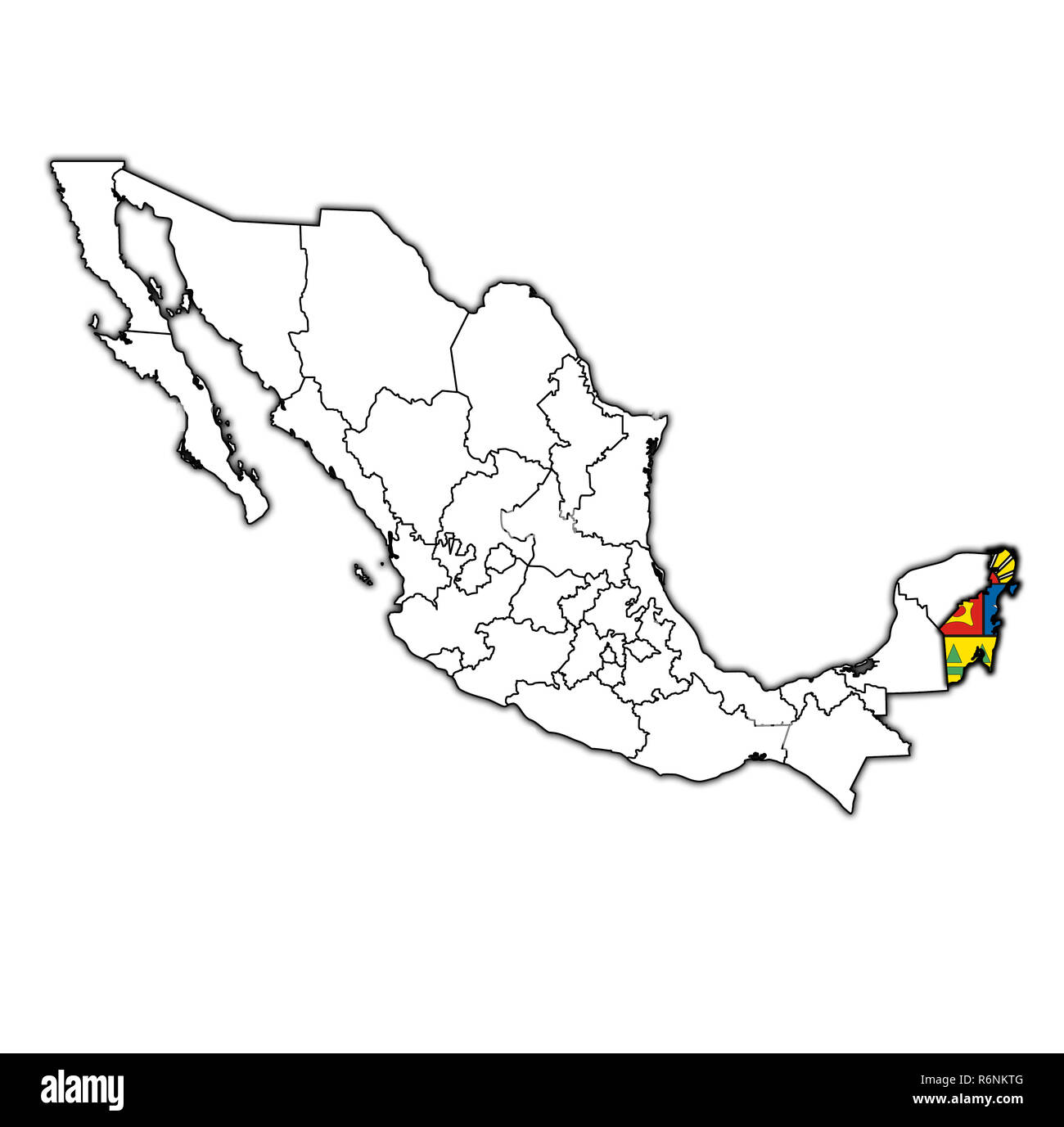 Quintana Roo On Administration Map Of Mexico Stock Photo 227899296