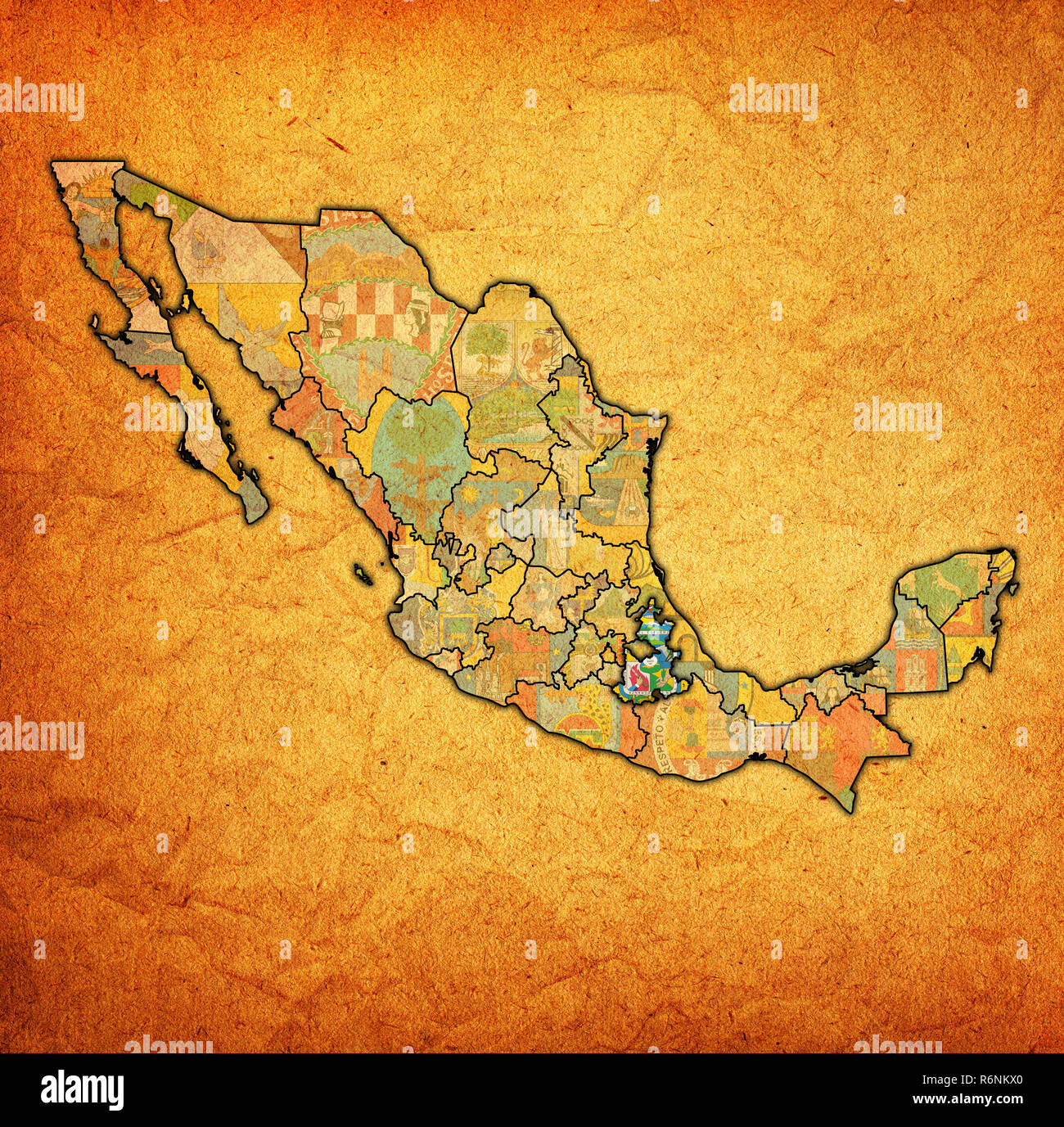 Puebla On Administration Map Of Mexico Stock Photo 227899336 Alamy