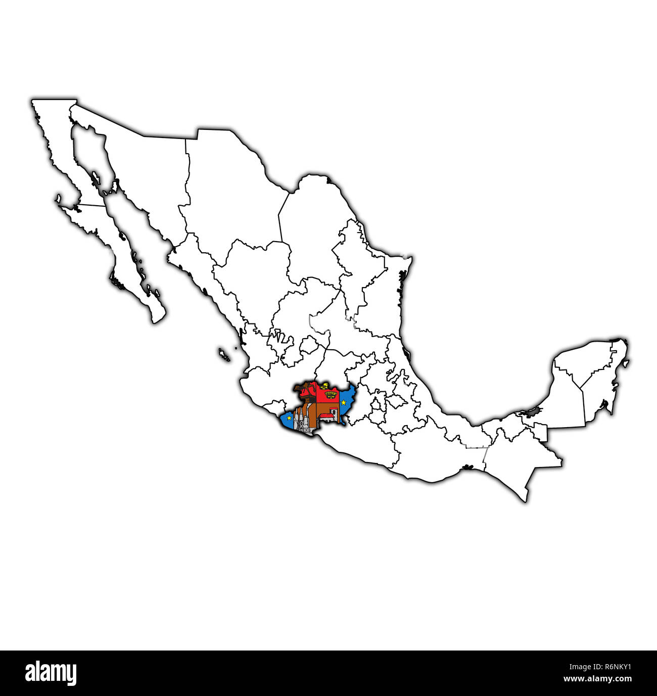 Michoacan on administration map of Mexico Stock Photo: 227899365 - Alamy