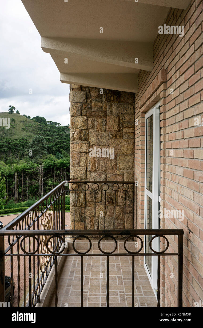 Balcony Rock Tiles Bricks Wall Mountain View Nobody Stock Photo