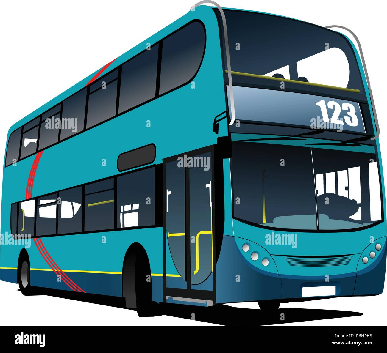 Blue tourist bus. Coach. Vector illustration - Stock Vector