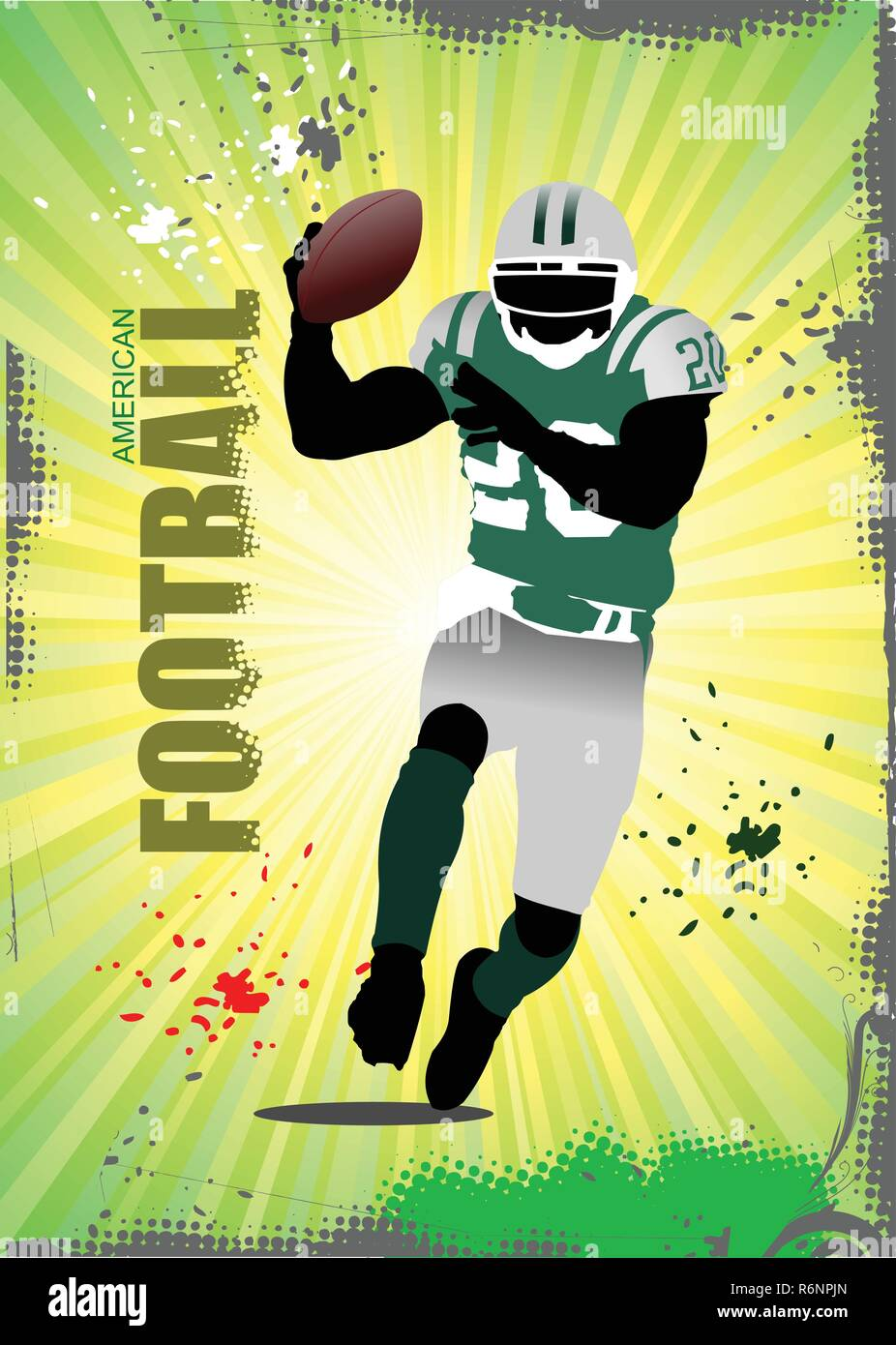 American football player poster. Vector illustration - Stock Vector