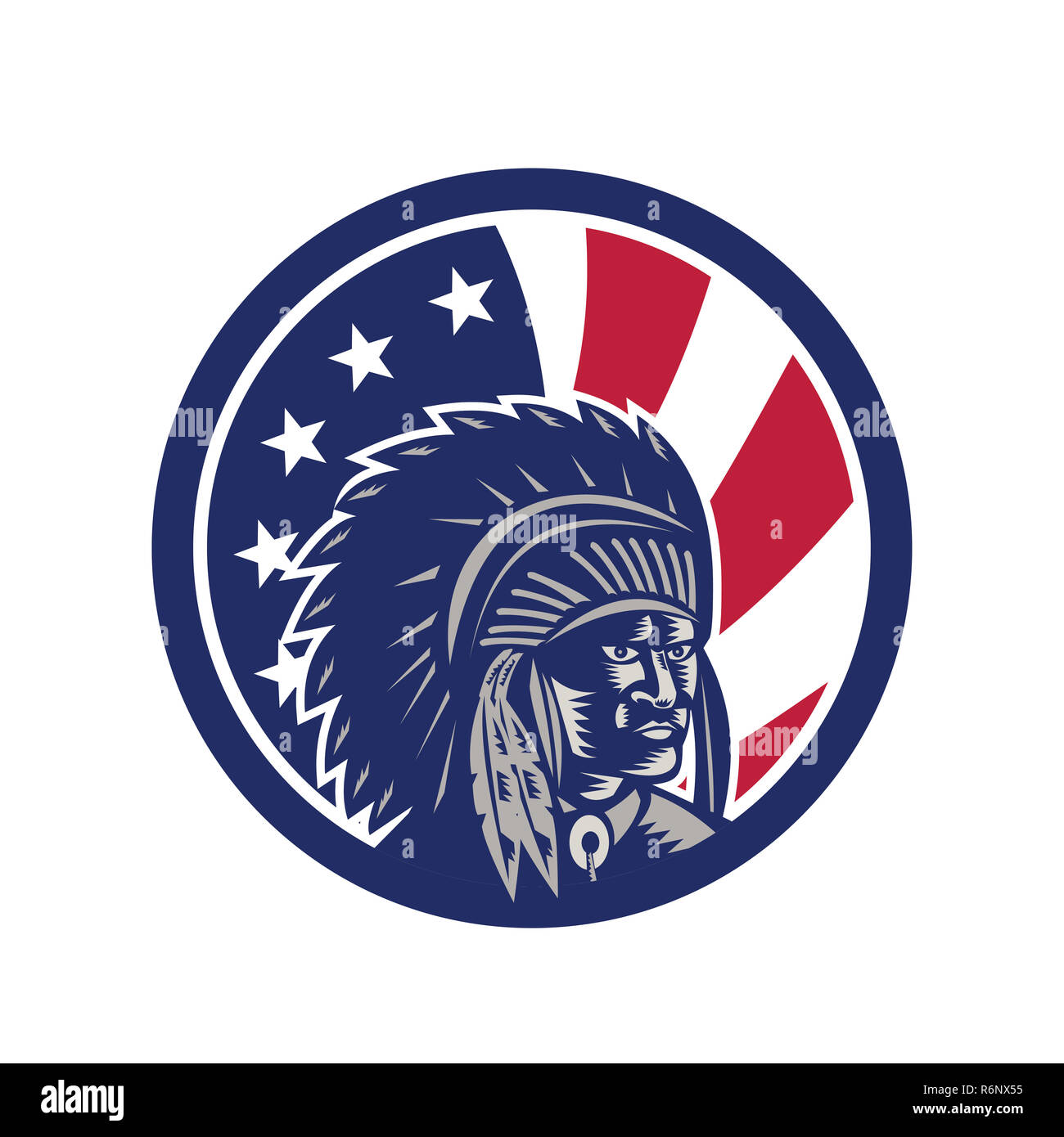 Native American Indian Chief USA Flag Icon - Stock Image