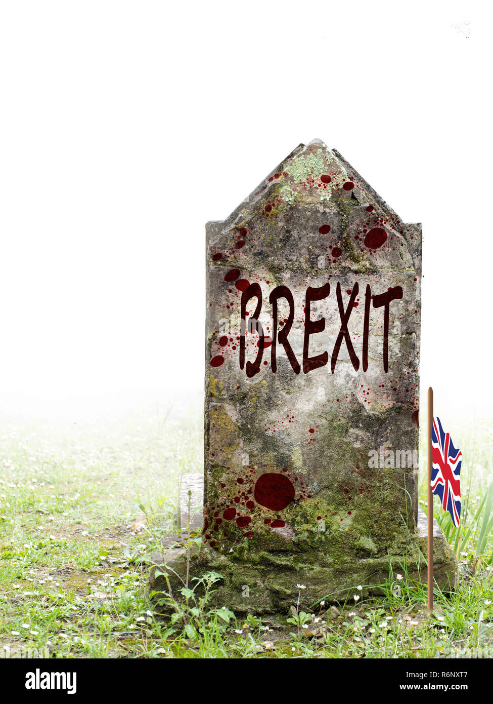 Brexit dead, UK politics. Ancient gravestone in fog, with blood and bedraggled flag. - Stock Image