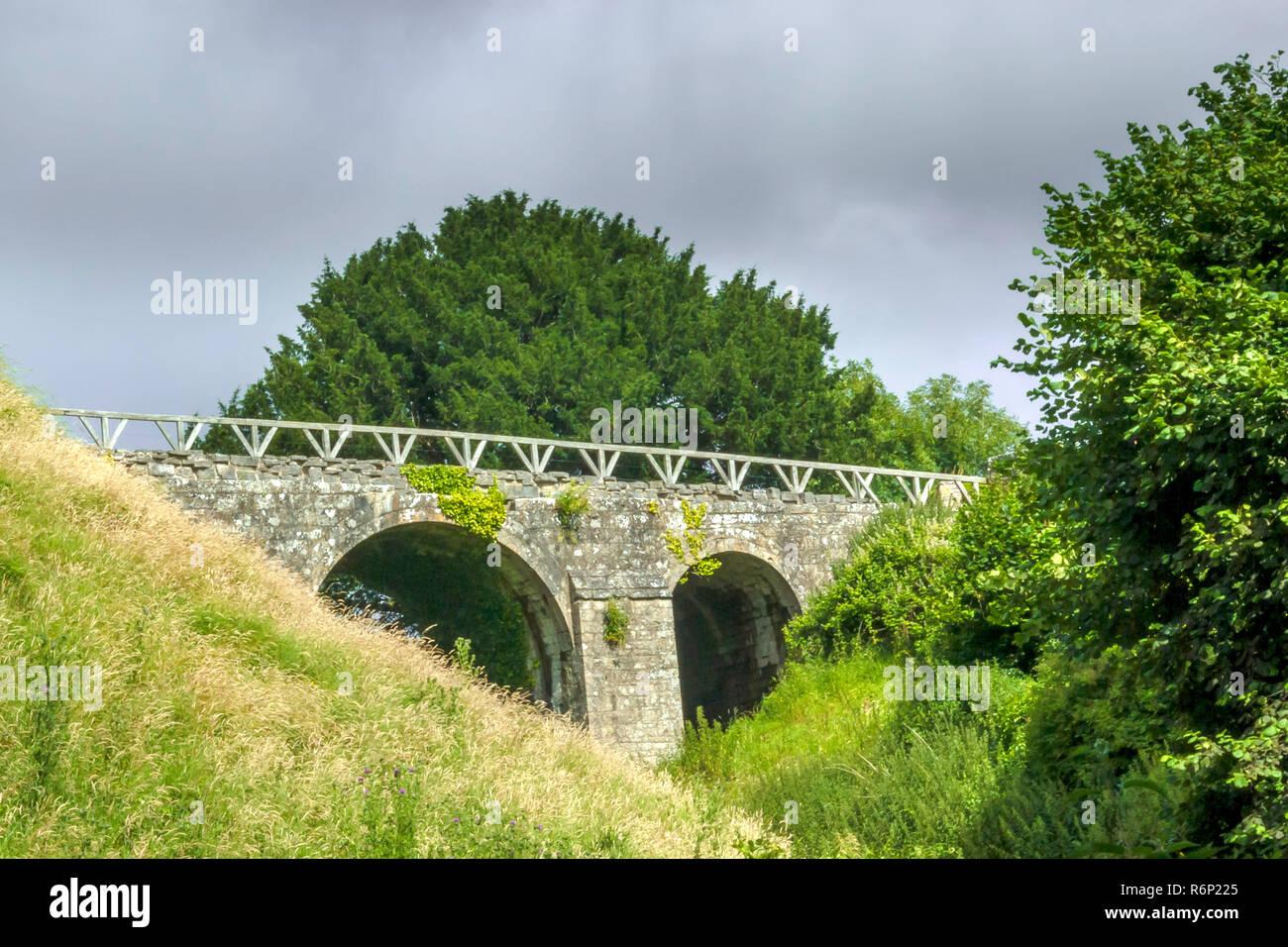 Old bridge in Corfe Stock Photo