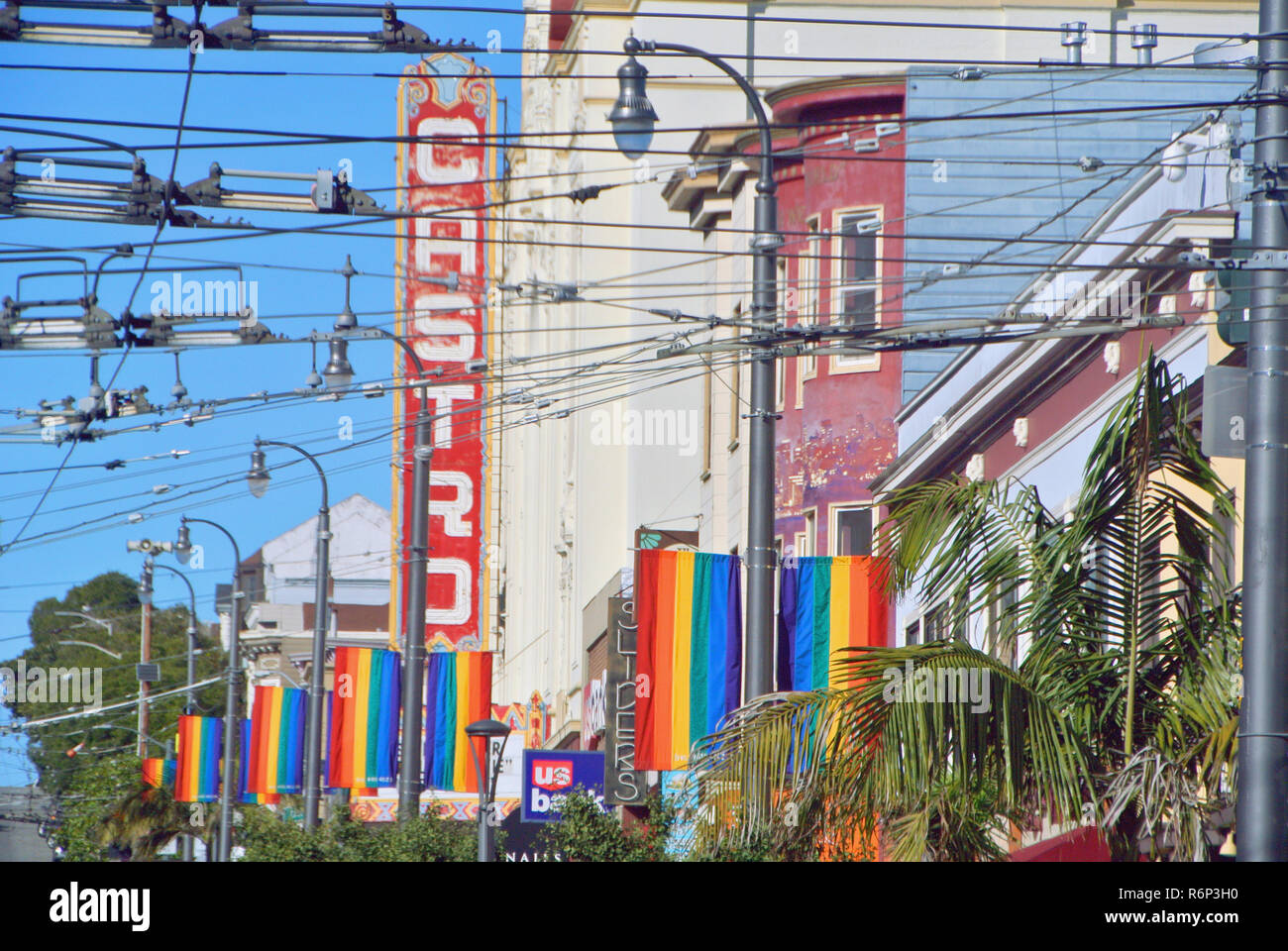 rainbow flags in castro district san francisco Stock Photo