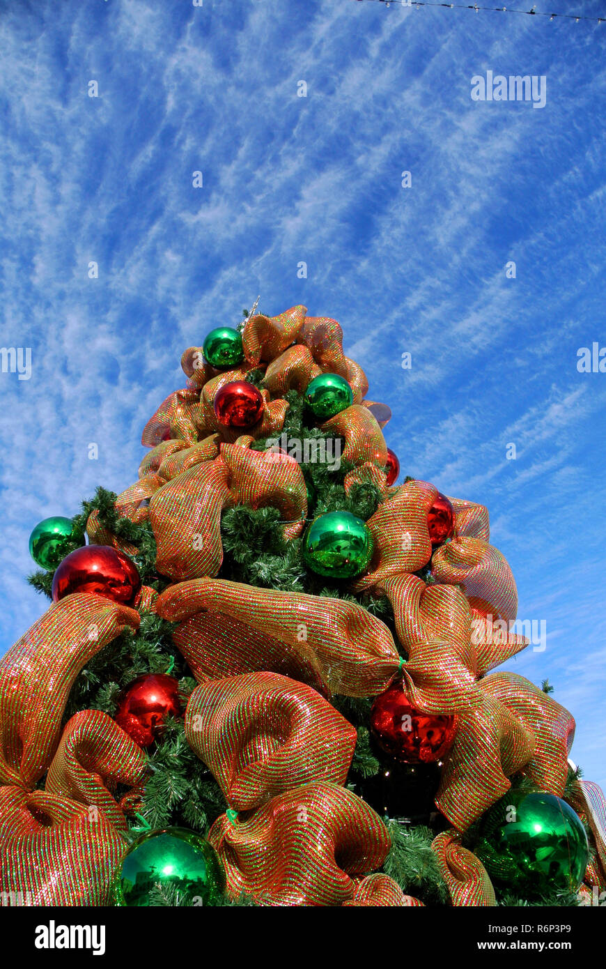 christmas tree with ornmaments in granbury texas Stock Photo