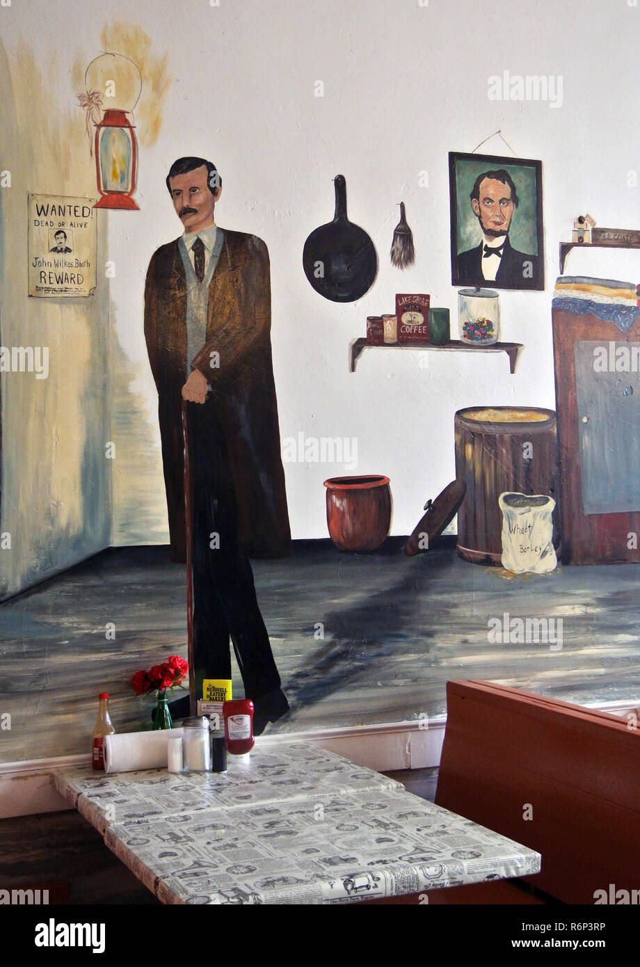 painting of john wilkes booth in bakery granbury texas Stock Photo